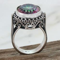 Handmade Sterling Silver Oval Mystic Fire Quartz Filigree Ring (Indonesia)