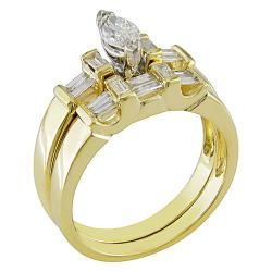 Miadora 14k Yellow Gold 3/4ct TDW Diamond Bridal Ring Set (G-H, I1-I2) - Thumbnail 1