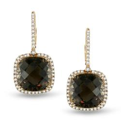 Miadora Signature Collection 14k Gold Smokey Quartz and 7/8ct TDW Diamond Earrings (G-H, SI1-SI2)