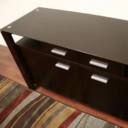 Layton Dark Brown Wood/ Glass Modern Sideboard - Thumbnail 1