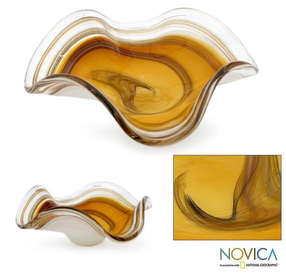 Hand-blown Murano Glass 'Amber Eloquence' Centerpiece (Brazil)