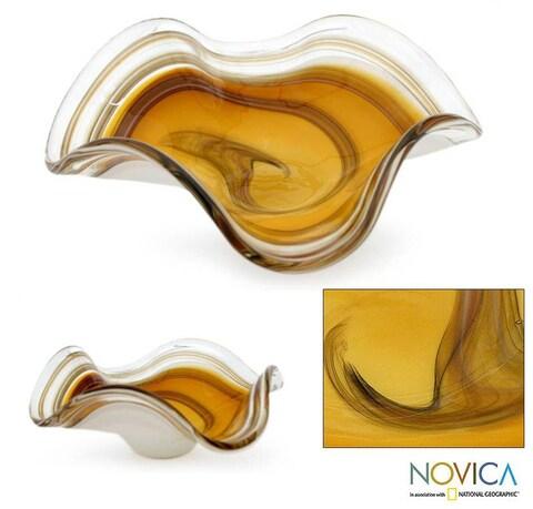 Hand-blown Glass 'Amber Eloquence' Centerpiece (Brazil)