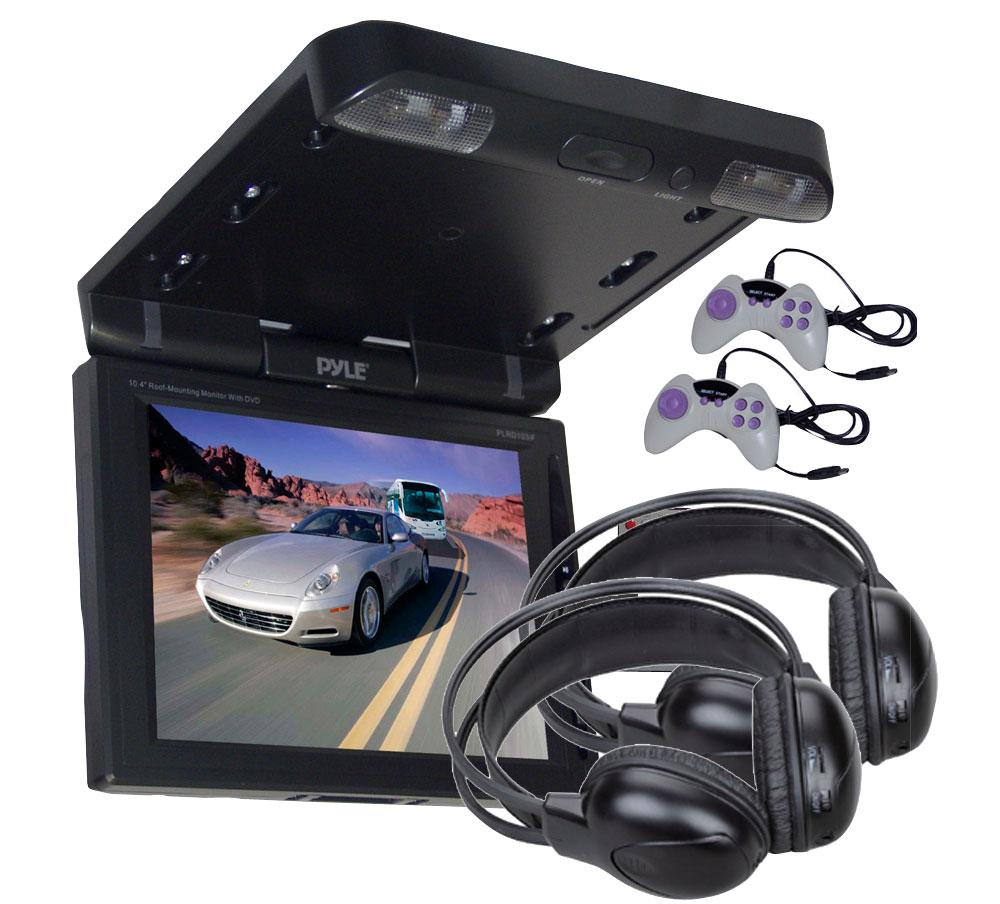Pyle 10.4-inch TFT Car Roof Mount DVD Player/ Monitor/ Headphones (Refurbished)