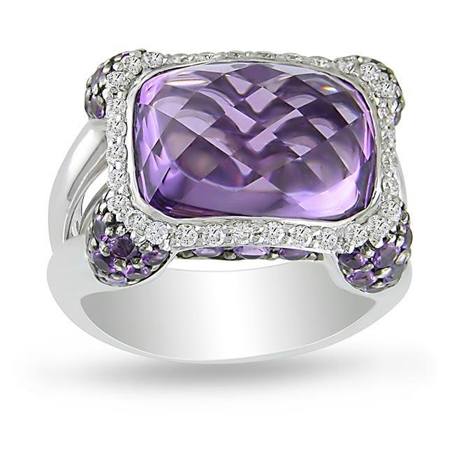 Miadora 14k Gold Amethyst and 1/3ct TDW Diamond Fashion Ring (G-H, SI1-SI2)