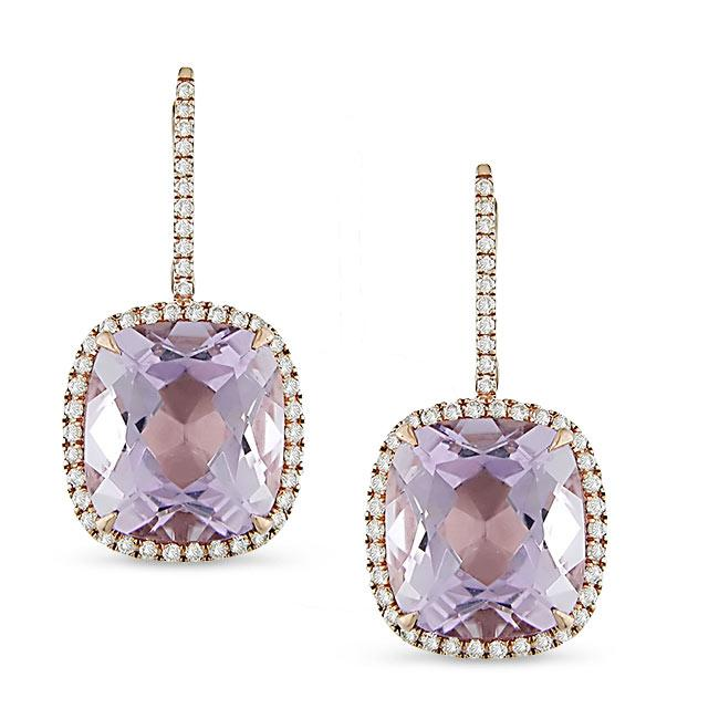 Miadora 18k Pink Gold Amethyst and 1/2ct TDW Diamond Earrings (G-H, SI1-SI2)
