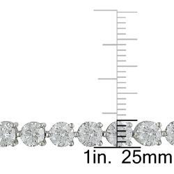 Miadora 18k White Gold 13 7/8ct TDW Diamond Tennis Bracelet (G-H, I1-I2) - Thumbnail 2