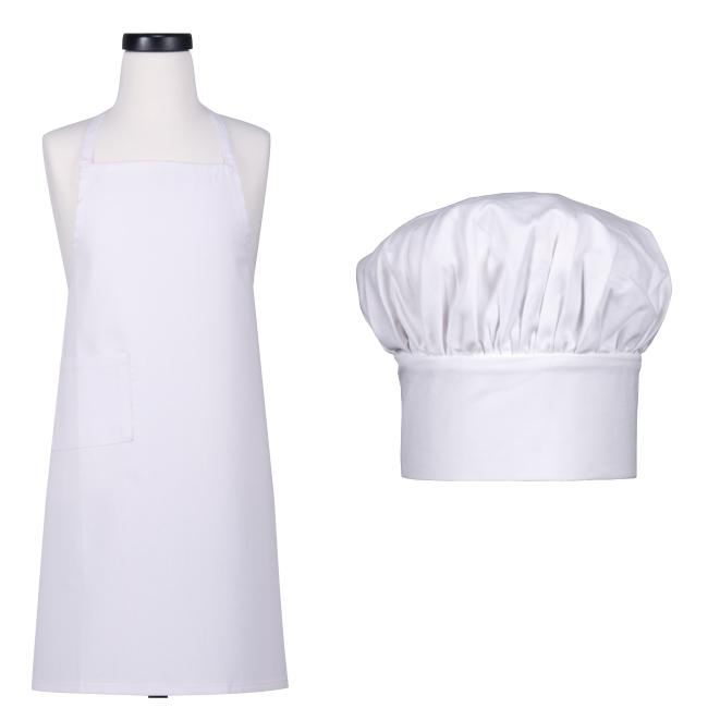 Kid's White Cotton Apron and Matching Hat