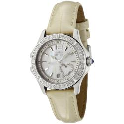 Invicta Women's 'Wildflower' Shiny Beige Leather White Crystal Watch