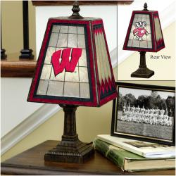Wisconsin Badgers 14-inch Art Glass Lamp - Thumbnail 1