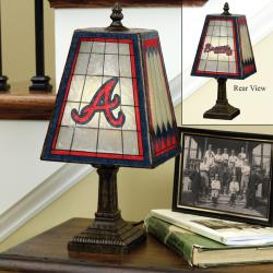 Atlanta Braves 14-inch Art Glass Lamp - Thumbnail 1