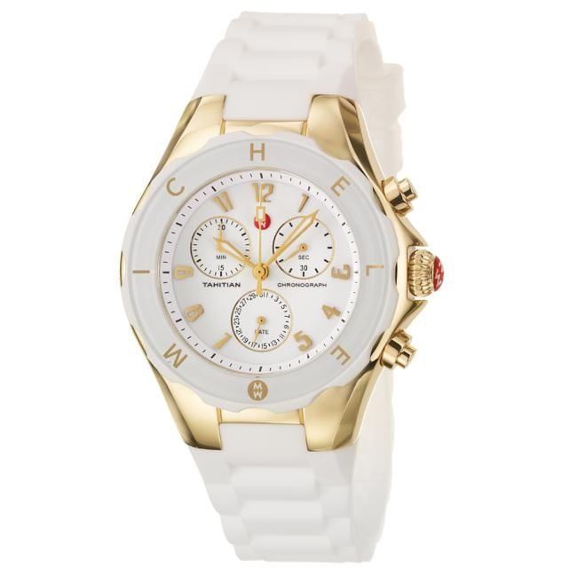 7d465e775 Shop Michele Women's 'Tahitian Jelly Beans' White Silicon Quartz Watch -  Free Shipping Today - Overstock - 5563650