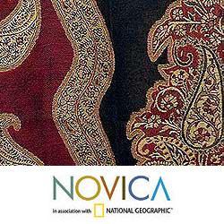 Jamawar Wool 'Paisley Modern' Shawl (India) - Thumbnail 2