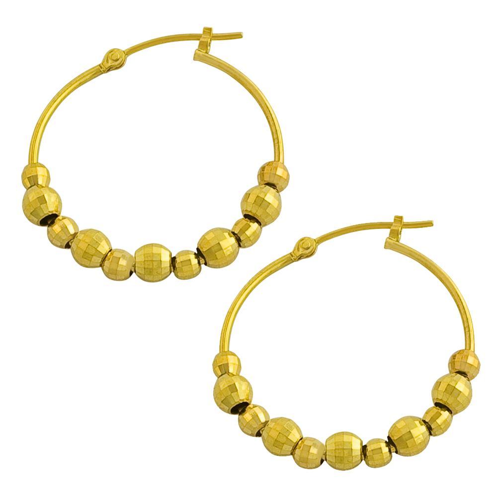55a0d0f17e6a Shop Fremada 14k Yellow Gold Diamond-cut Bead Balls Hoop Earrings - Free  Shipping Today - Overstock - 5566439