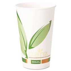 Case of 1,000 SOLO Bare PCF Paper White/Green 16-ounce Hot Drink Cups