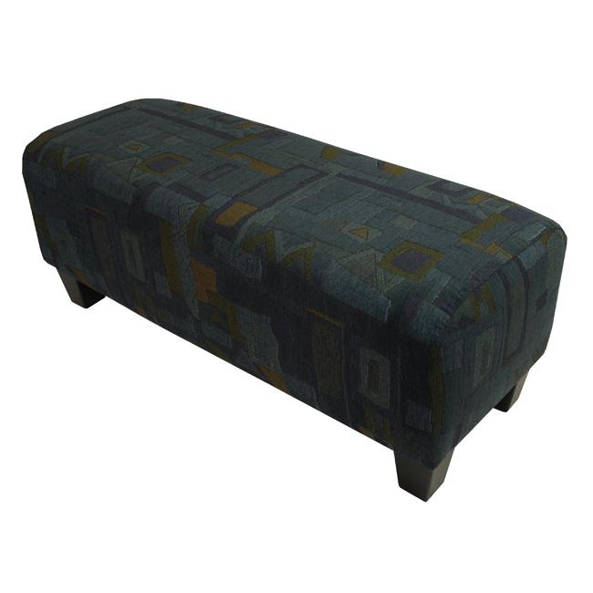 Geo Blue Upholstered Bench