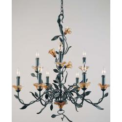 Amber Mist Blacksmith Bronze 9-light Chandelier - Thumbnail 1