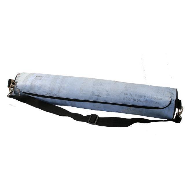 Recycled Blue Newsprint Yoga Mat Bag (India)