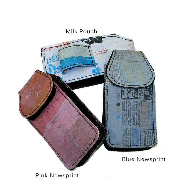 Hand-crafted Lined Recycled-plastic/Cotton Cell Phone Case (India)