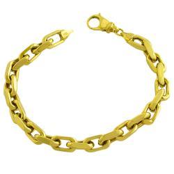 14k Yellow Gold Diamond-cut Chain Link Bracelet