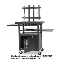 Balt Adjustable Black Steel Flat Panel TV Cart