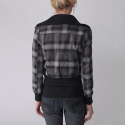 Love Change Junior's Plaid Zip Front Bomber Jacket