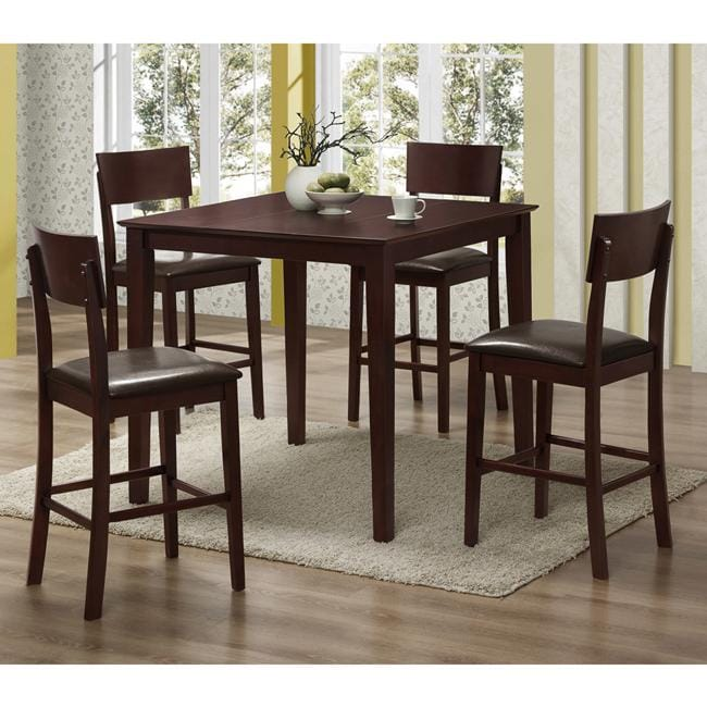 Espresso 5-piece Wood Pub Table Set - Free Shipping Today ...