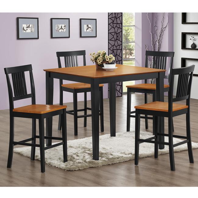 black natural 5 piece wood pub table set free shipping