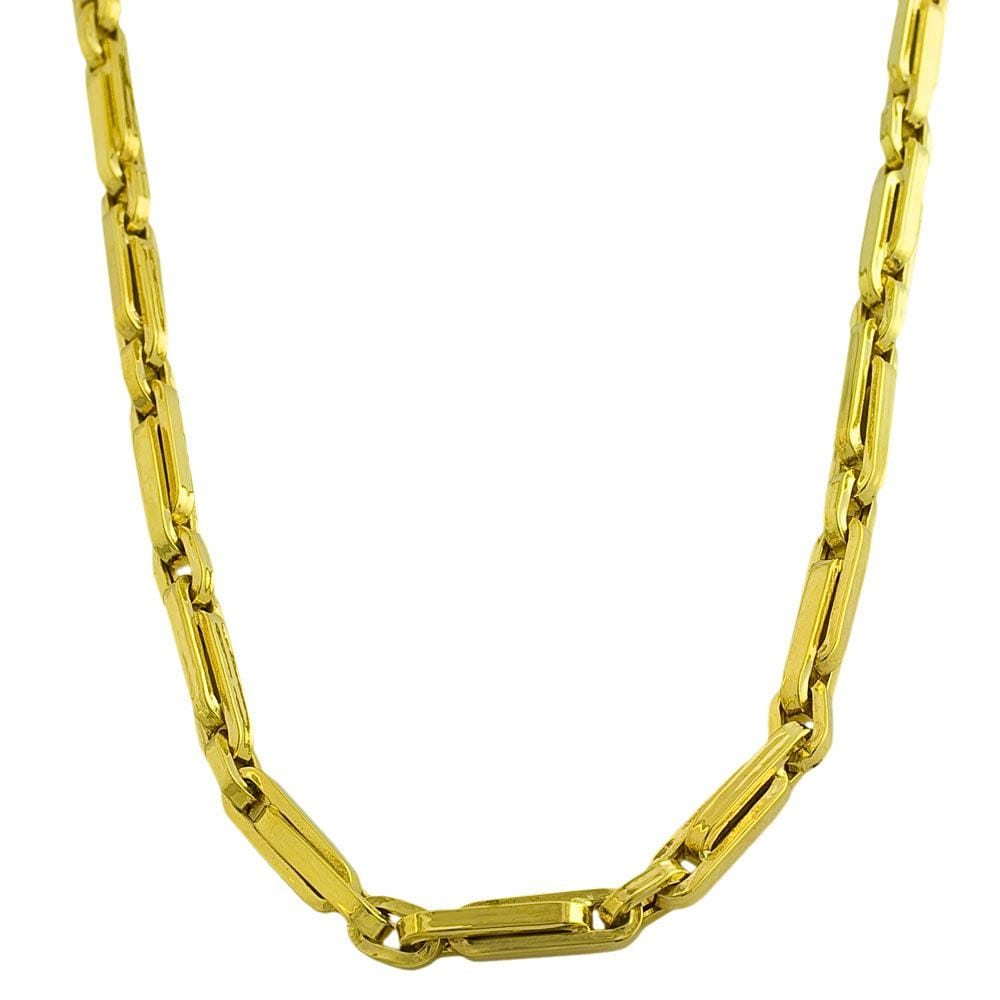14k Yellow Gold Polished Fancy Clip Link Necklace