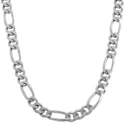 14k White Gold Solid 9.6mm Figaro Link Necklace (20-24 inches)