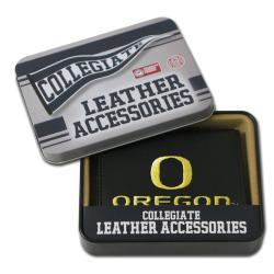 Oregon Ducks Men's Black Leather Tri-fold Wallet