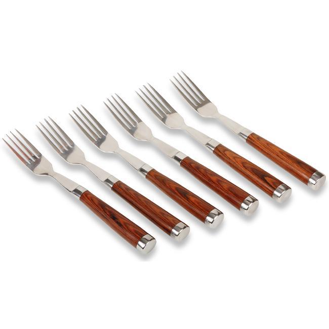 Laguiole Select Polished Hardwood 6-piece Steak Fork Set