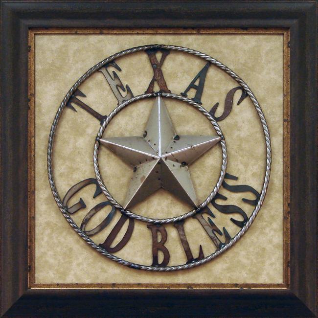 Framed Metal Wall Art antonio 'iron god bless texas' framed metal wall art - free