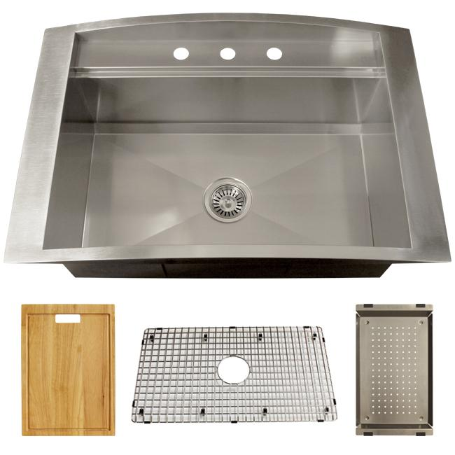 33x22 Stainless Steel Sink : 33 inch 18-Gauge Stainless Steel Drop-in Single Bowl Kitchen Sink with ...