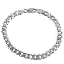 14k White Gold Men's Classic Solid Curb Link Bracelet