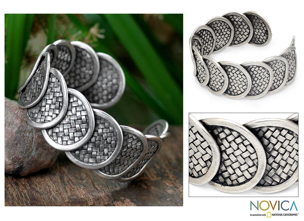 Silver 'Lanna Treasure' Cuff Bracelet (Thailand)
