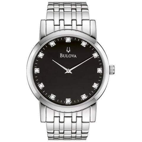 Bulova Men's 96D106 Diamond-Accented Stainless Bracelet Watch