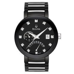 Bulova Men's Black IP Plated Stainless Steel Dual Time Diamond Watch