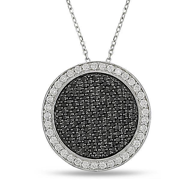 14k White Gold 1ct TDW Black and White Diamond Necklace