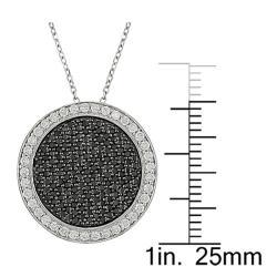 14k White Gold 1ct TDW Black and White Diamond Necklace - Thumbnail 2
