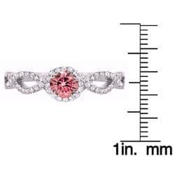 14k White Gold 1/2ct TDW Pink and White Diamond Ring (H-I, SI1) - Thumbnail 2