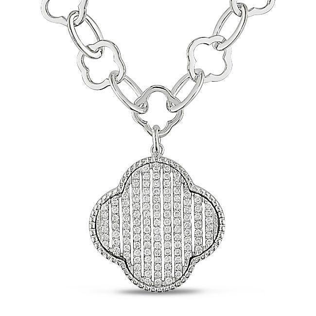 Miadora 18k White Gold 1ct TDW Diamond Flower Necklace (G-H, SI1-SI2)