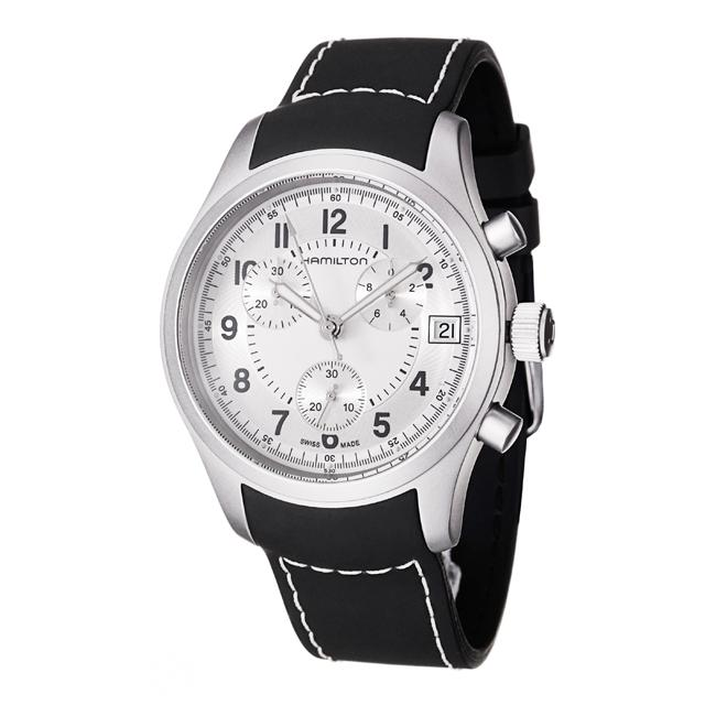 Hamilton Men's 'Khaki' Stainless Steel and Rubber Quartz Watch