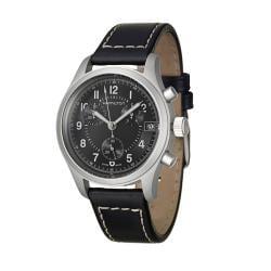 Hamilton Men's 'Khaki' Stainless Steel and Leather Quartz Watch