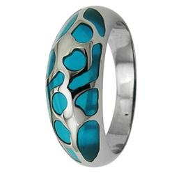 High-Polish Stainless-Steel Turquoise Resin-Inlay Cocktail Ring