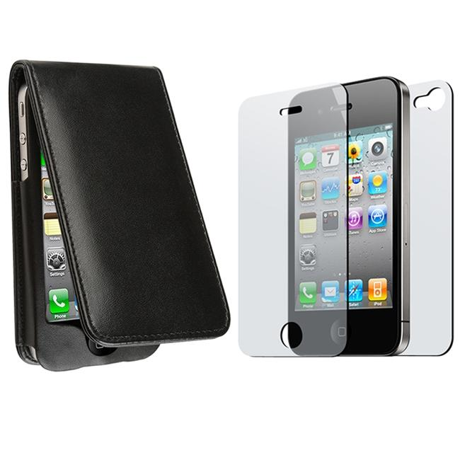 Black Leather Case/ 2-piece Screen Protector for Apple iPhone 4