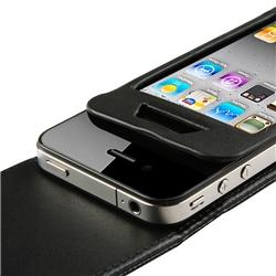 BasAcc Black Leather Case/ Screen Protector for Apple iPhone 4