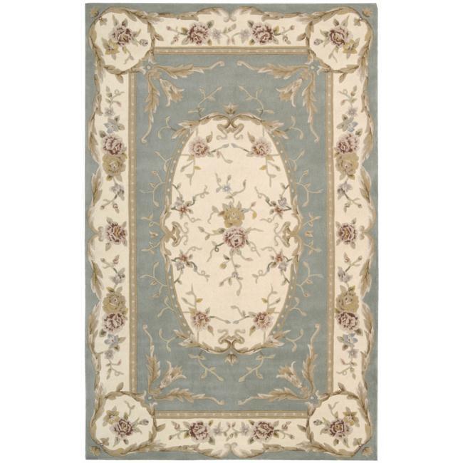 Nourison Hand-tufted French Empire Aqua Wool Rug (5'6 x 8'6)