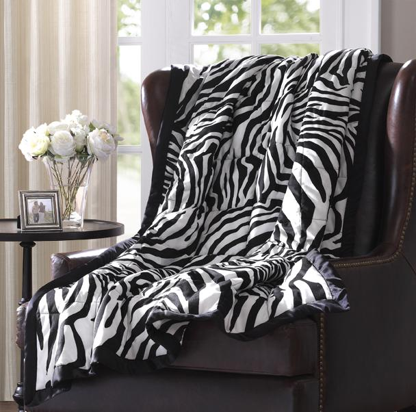 Softspun Zebra Print Down Alternative Throw - Free Shipping On Orders