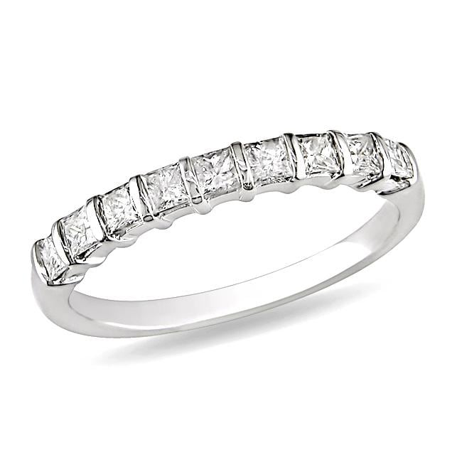 Miadora 10k White Gold 1/2ct TDW Diamond Anniversary Band (G-H, I2-I3)