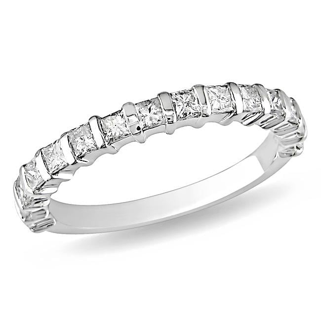 Miadora 10k White Gold 3/4ct TDW Diamond Anniversary Ring